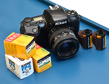 Film camera and rolls of film.
